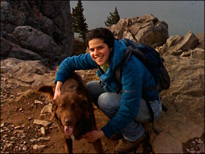 A photo of Kate Heuther with her dog, Heuther's usual hiking companion.