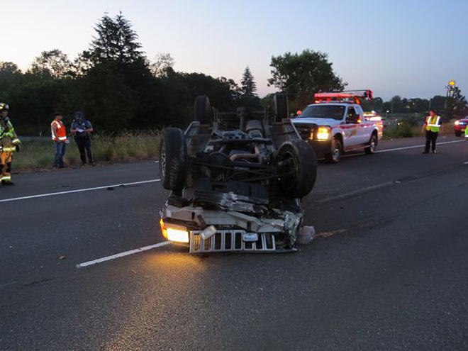 Jeep crash spills marijuana on I-5