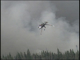 Helicopter on the Gnarl fire