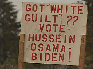 Sign asks motorists to 'Vote Hussein Osama Biden'