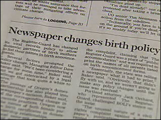 Newspaper changes policy on birth announcements