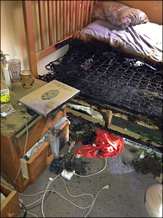 10. Laptop battery set mattress on fire
