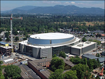 Photos show Matthew Knight Arena from the air