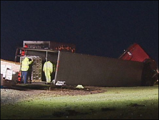 Semi truck blocked I-5 north Wednesday morning