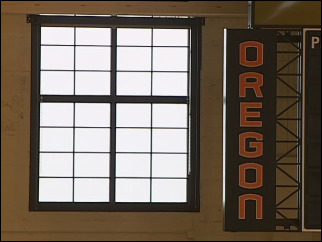 Restored windows let sun in Gill Coliseum for first time in decades