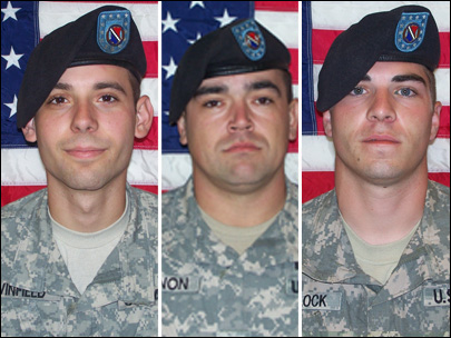 Spc. Adam Winfield (left), Spc. Michael Wagnon (center), and Spc. Jeremy Morlock (right)