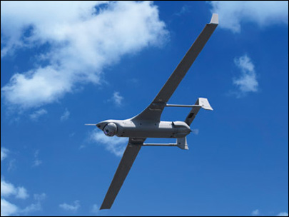 A ScanEagle drone is shown in this photo provided by Insitu Inc.