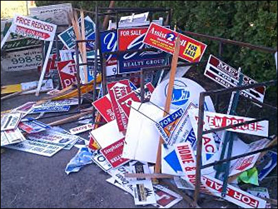 Sign graveyard: Redemption for yard signs