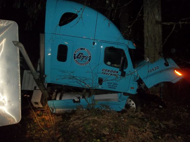 Big rig hits tree, overturns blocking Hwy 126