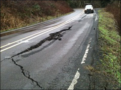 50 feet of Oregon highway washed away