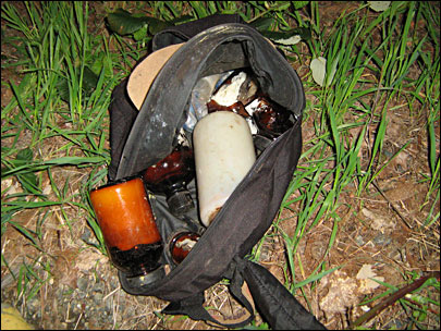 Backpack meth lab found dumped on side of road