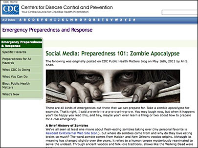 CDC's 'zombie apocalypse' advice an Internet hit