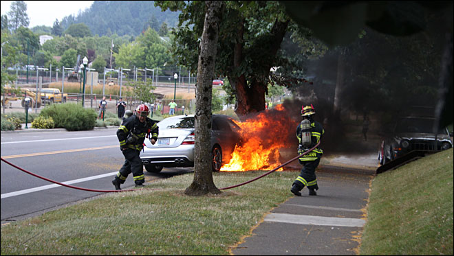 Car hits tree, catches fire