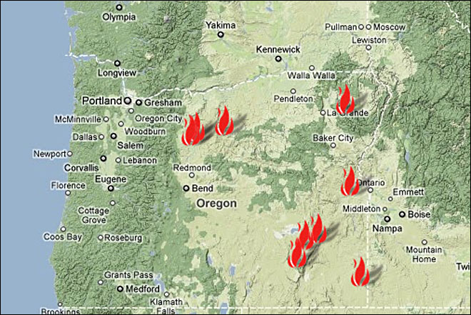 A map of oregon fires