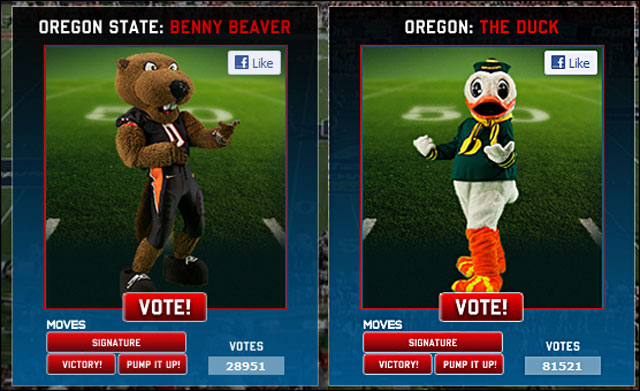Oregon State Beaver and Oregon Duck