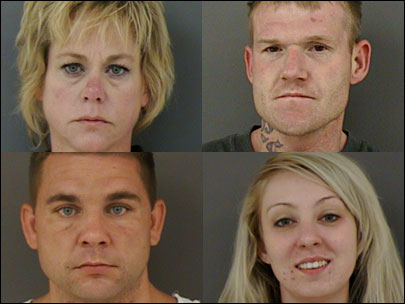 Police arrest four in theft, drug case