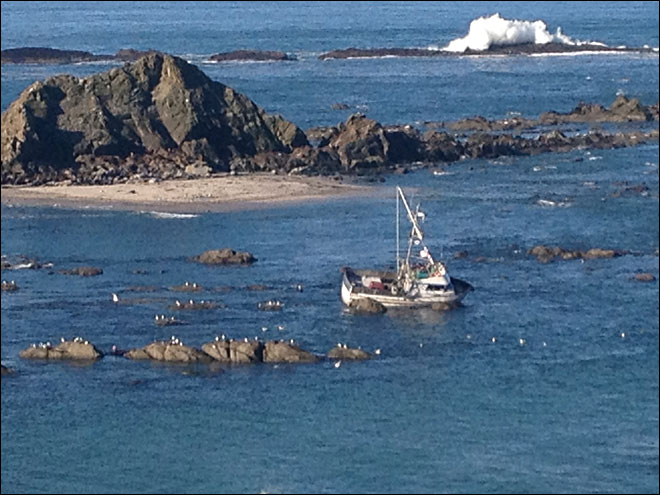 Crab boat runs aground