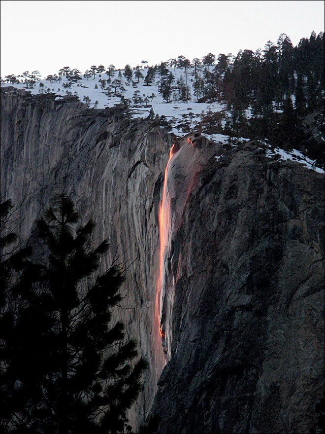 Every February, Yosemite waterfall turns to lava