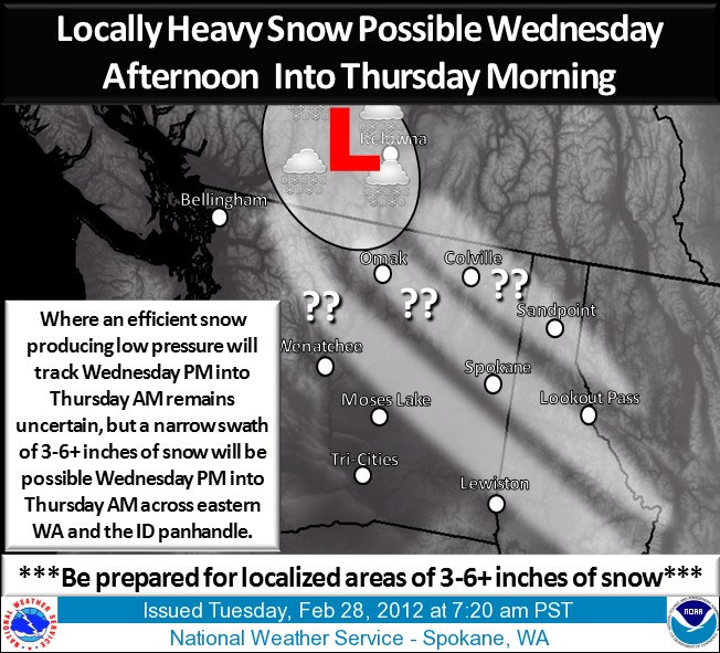 Snow forecast for Washington state