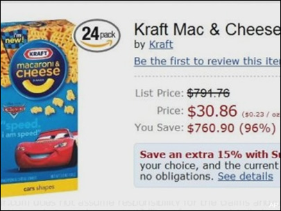 Does Amazon really think Mac & Cheese is normally $800?