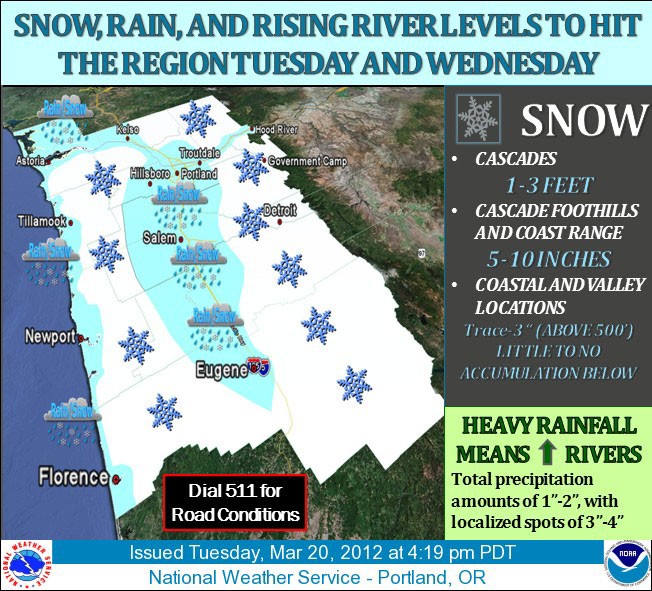 'Threat for significant snow from Corvallis to Eugene'