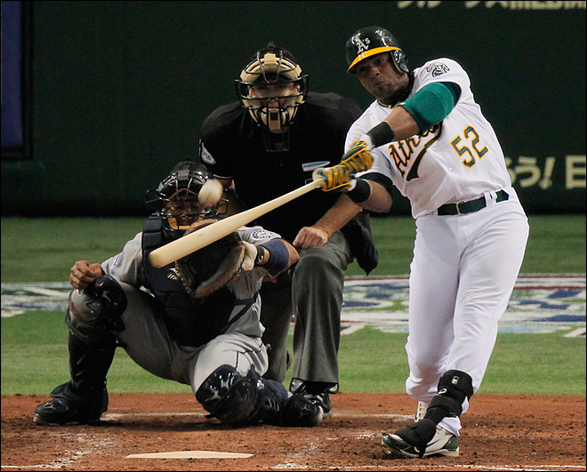 Cespedes homers as A's beat Mariners 4-1 in Japan