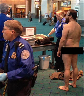 Man protests airport security - naked
