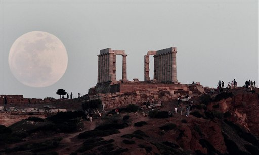 APTOPIX Greece Full Moon Supermoon