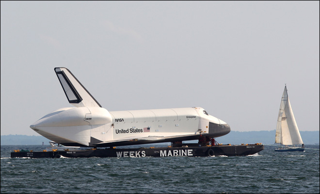 Photos: Shuttle at sea, en route to new home