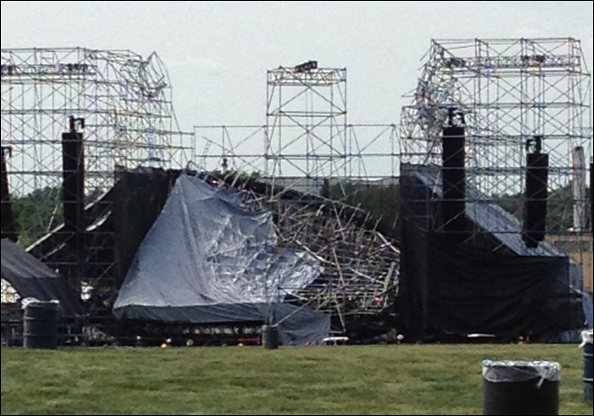 Stage collapses before Radiohead concert; 1 killed, 3 hurt