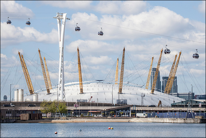 Urban cable car takes flight over London's Thames