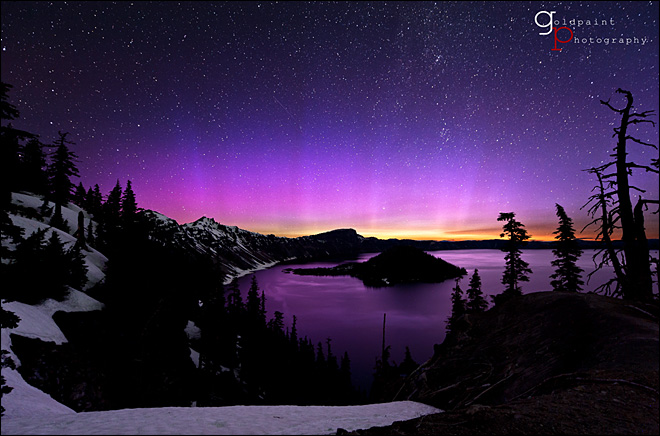 Northern Lights erupt over Crater Lake