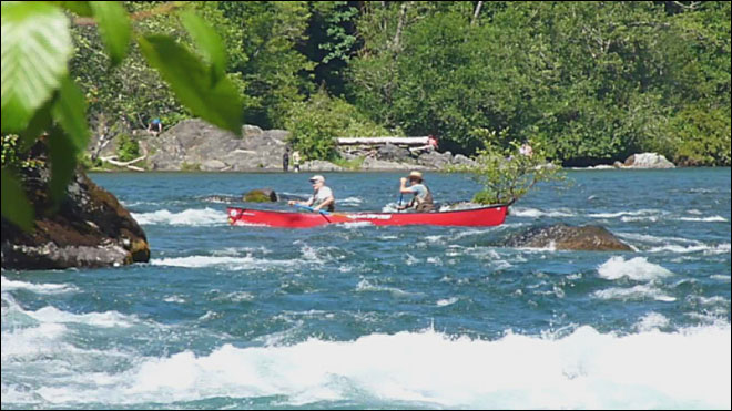 Canoe capsizes in rapids
