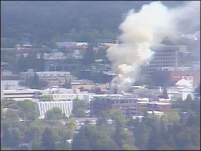 Raw towercam video of fire in downtown Eugene