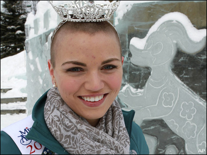 Beauty queen who shaved head wins Miss Alaska