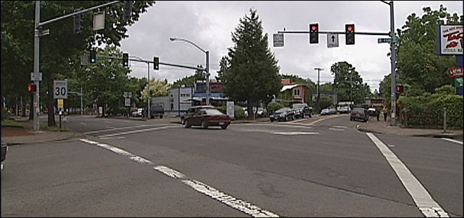 Motorcycle vs. vehicle in downtown Eugene