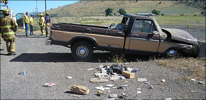 Truck crash north of Klamath Falls kills man Thursday