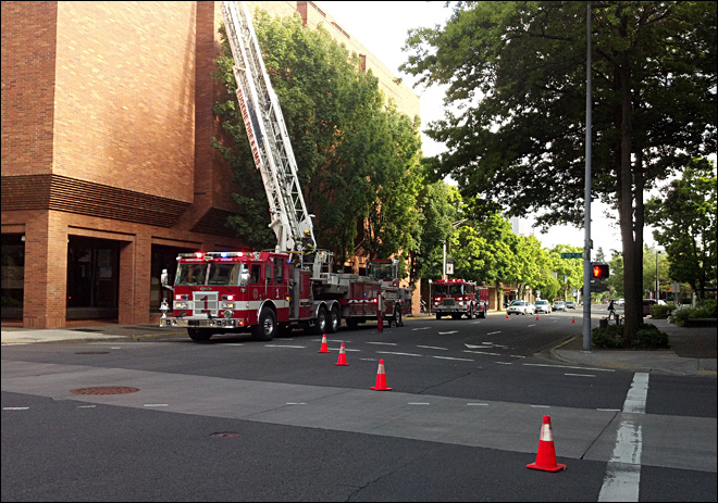 Fire alarm at Century Link Building blocks downtown intersection