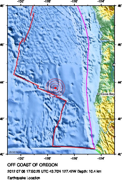 Quake shakes beneath ocean off Coos Bay