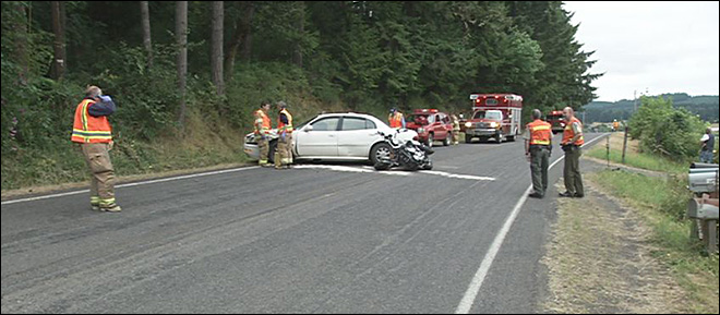 Life Flight responds to car vs. motorcycle in Lorane