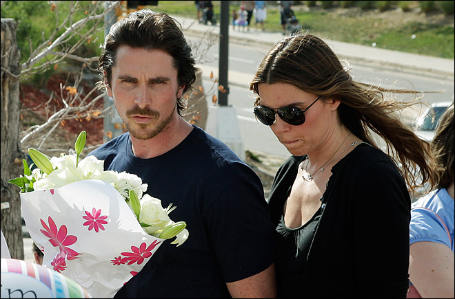 Batman star Christian Bale visits shooting victims