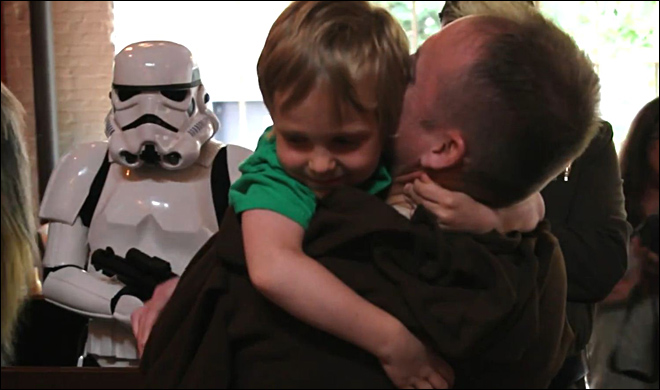 Back from Afghanistan, Portland man dressed as Jedi surprises son