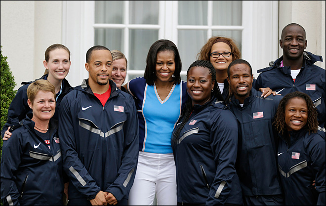 Michelle Obama greets U.S. athletes in London