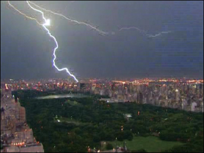 Lightning streaks across the New York City skyline