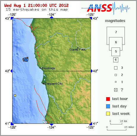 Earthquake swarm a few miles off Oregon Coast