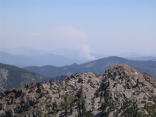 Smoke plume as seen from Bonanza King