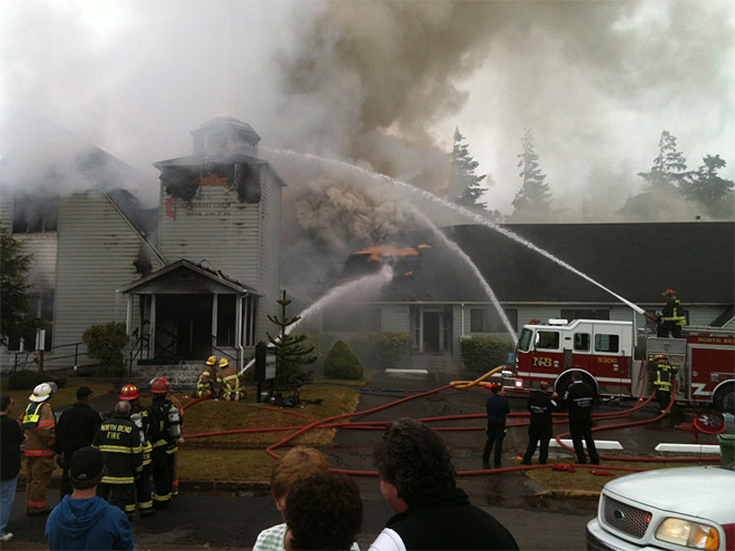 Fire burns church in North Bend