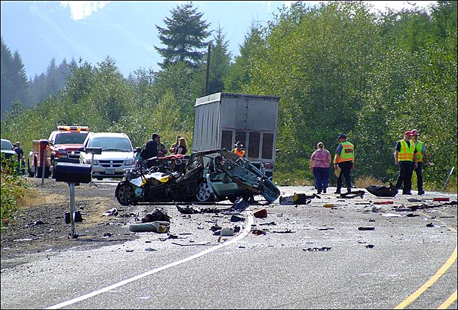Photo of the fatal Highway 20 head-on crash taken by KVAL viewer Pete S.