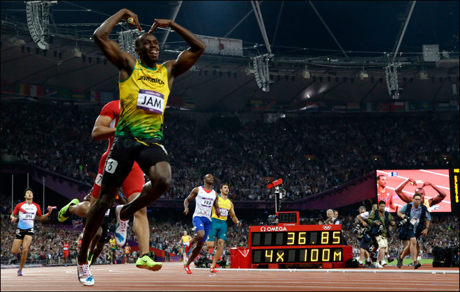 Bolt anchors Jamaica to relay record for 3rd gold