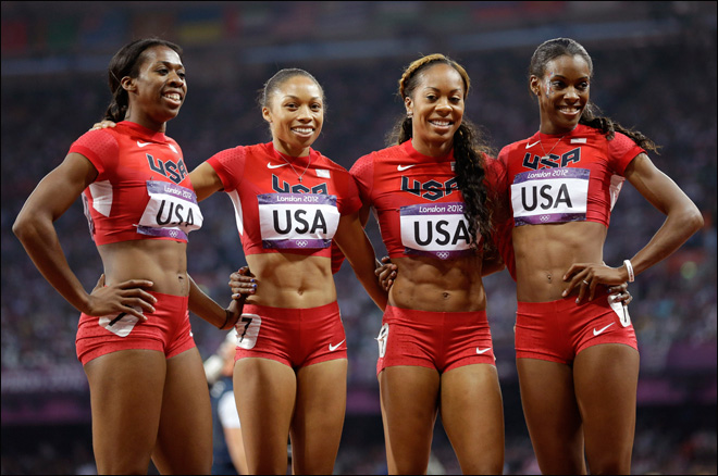 U.S. women win 4x400 to give Felix 3rd Olympic gold